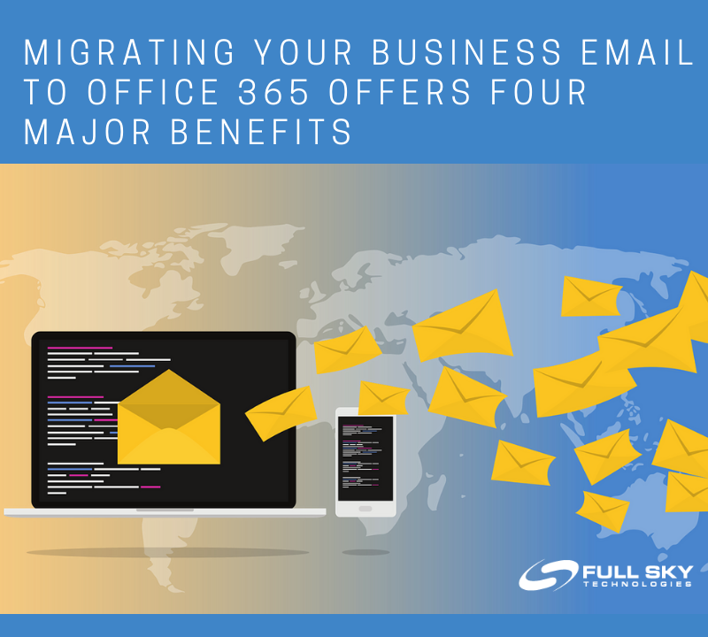 Benefits of Migrating your Email to Office 365 Full Sky Technologies Computer with emails.
